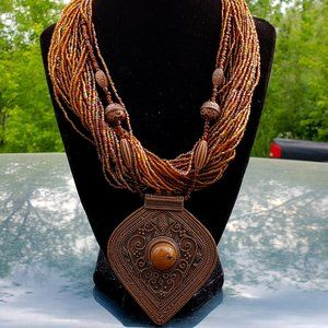 Vintage Copper Glass beaded Necklace